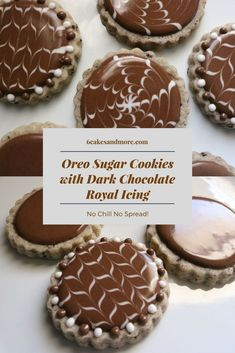 No Chill No Spread Oreo Sugar Cookies - Oreo Sugar Cookies with Dark Chocolate Royal Icing - No Spread Sugar Cookie Recipe, Cookie Icing, Sugar Cookies Recipe, Cookie Cutters, Chocolate Icing, Homemade Chocolate, Chocolate Recipes, Chocolate Sugar Cookies, Baking Recipes