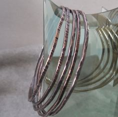 Set of Five Copper Bangle Bracelets, Stacking Bracelets, Boho Bangle Bracelets