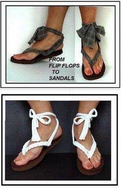 Turn Flip Flops into Sandals by Recycling a T-shirt - DIY - AllDayChic Decorating Flip Flops, Crochet Sandals, Shoe Crafts, Stylish Sandals, Diy Scarf, Glitter Shoes, Flip Flop Shoes, Designer Heels, T Shirt Diy