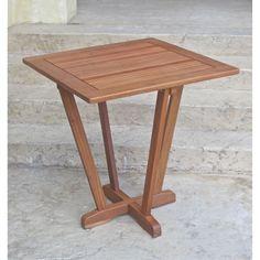 International Caravan Royal Tahiti Yellow Balau Outdoor 28-inch Square Inverted Pyramid Table,, Patio Furniture