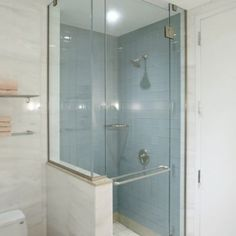 Small shower with half wall