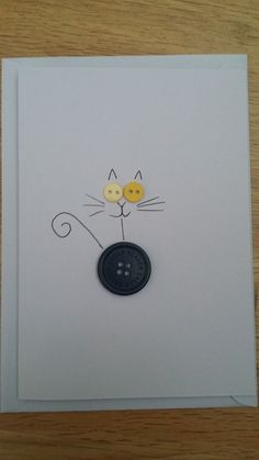 24 Ideas birthday card handmade cat for 2019 Cat Cards, Kids Cards, Greeting Cards, Handmade Birthday Cards, Diy Birthday, Cat Birthday Cards, Birthday Gifts, Birthday Bunting, Button Cards