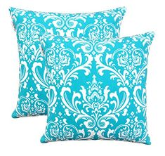 TreeWool, (Pack of 2) Damask Cotton Canvas Decorative Throw Pillow Cushion Covers by TreeWool Cushion Collections - 18 X 18 Inches (Turquoise) TreeWool http://www.amazon.com/dp/B016TV5RWE/ref=cm_sw_r_pi_dp_-coAwb1XPC3AP
