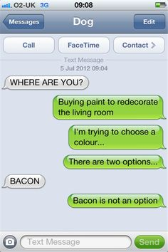 texts from dog bacon - Dump A Day Funny Dog Texts, Funny Dogs, Funny Animals, Animal Funnies, Silly Dogs, Animal Quotes, If Dogs Could Text, Lol Text, Funny Text Conversations