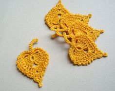 8 Golden Leaf Appliques -- Crochet Birch Leaves