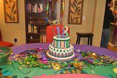 Mardi Gras 18th Birthday Cake
