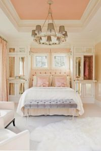 Neighborly Peach Sherwin Williams painted ceiling in bedroom.