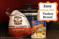 This is literally the easiest way to cook a turkey breast!  Put 3 ingredients in the crock pot and by the end of the day you'll have a moist and flavorful turkey breast!
