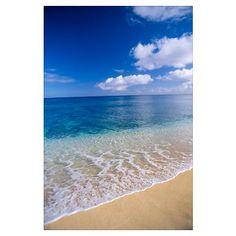 Wave Washes Ashore Onto Sandy Beach, Azure Ocean, Poster