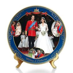 Royal wedding-inspired Heirloom Porcelain® collector plate features Prince William in his Royal Navy uniform and Princess Catherine in her Alexander McQueen gown. Royal Wedding 2011, Royal Weddings, Kitsch, Royal Navy Uniform, Wedding Plates, Wedding Favors, Bradford Exchange, Prince William And Catherine, Couples In Love