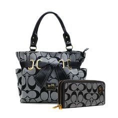 5cb823c0e Cheap And Fashion Coach Poppy Bowknot Signature Medium Grey Totes ANC Are  Here! All New Designer Handbags