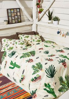 Get Your Chlorophyll Duvet Cover in Full/Queen - Multi, Green, Floral, Print, Best, Boho, Spring, Summer