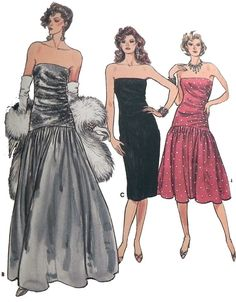 1980s Prom or Party Dress sewing pattern.  by retroactivefuture