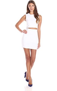 Lucca Couture Women's Slash-Waist Till Dress, White, Large ❤ Lucca Couture Womens Contemporary