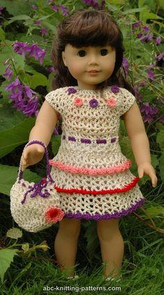 American Girl Doll Wildflower Dress with Ruffles and Drawstring Handbag - http://www.abc-knitting-patterns.com/1413.html