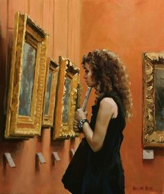 """Thinking"" - Pauline Roche, oil on linen {contemporary figurative artist curly-hair female standing woman in art gallery examining gold-framed painting} Admiration !!"