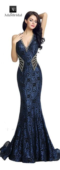 NEW! Glamorous Lace Halter Neckline Mermaid Evening Dresses With Beadings