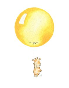 Nursery Art Picture Large 10x12 Bright Balloon by DaisyandBumpArt