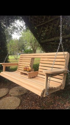 5 Ft Cypress Porch Swing with Flip Down Console Cup Holders - Select Kiln Dried Cypress Handmade Arbor Swing, Bench Swing, Wood Signs For Home, Diy Wood Signs, Outdoor Furniture Plans, Woodworking Furniture, Woodworking Books, Backyard Projects, Diy Wood Projects