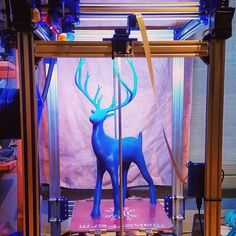 "#3dprinted #holidaychristmasdeer from #thingiverse . 20"" tall  300 micron .6mm #e3dvolcano nozzle  sliced in #simplify3d  blue #gizmodorks #pla  took just over 9 hours on the #cbot . #3dprinting #3dprint #reindeer #christmas by e_pavey"