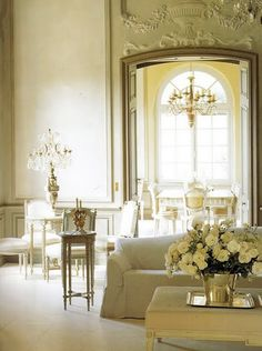 Pale yellows & creams...  nothing so grand as this, but love the color with white and ivory.  Soft.