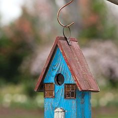 Blue Roofed Rustic Birdhouse