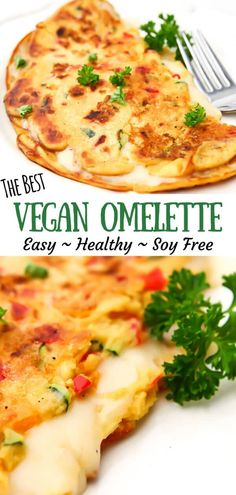 Vegan chickpea omelettes are super easy to make with chickpea flour and a few simple ingredients! They are a quick and easy hot vegan breakfast that Vegan Dinner Recipes, Whole Food Recipes, Vegetarian Recipes, Healthy Recipes, Chickpea Flour Recipes, Chickpea Omelette, Vegan Omelette, Omelette Recipe, Vegan Foods
