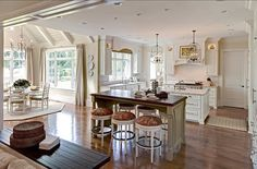 Kitchen Layout Ideas. Open Kitchen Layout. Open kitchen island and breakfast nook layout. #Kitchen #Design Ideas <Kitchen Design Ideas>