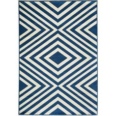 Blue and White Geometric Indoor/Outdoor Rug