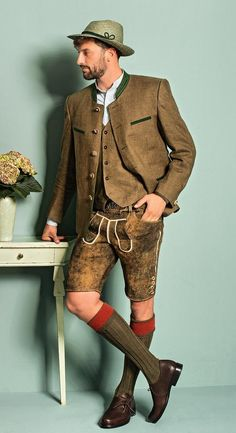 German Costume, Lederhosen, German Men, Men In Heels, Knitting Socks, Knit Socks, Red Green Yellow, Leather Shorts, Fashion Photography