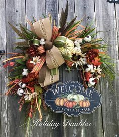 Fall Grapevine Welcome to Our Home by Holiday Baubles