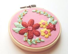 Miniature Floral Embroidery Art // 3 Hand Embroidered by friday55