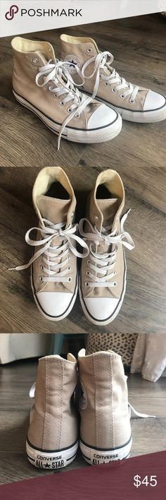 Tan High-Top Converse Only worn 4 or 5 times. Super comfy! High top light beige/tan converse. Make an offer! Converse Shoes Sneakers