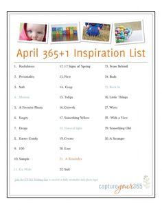 April 365 Photo Idea List