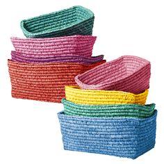 Set of 4 Colourful Rectangular Raffia Storage Baskets Rice DK