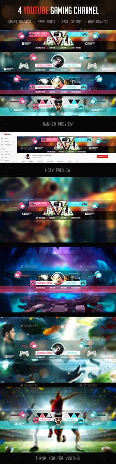 Gaming Channel Youtube Banner Templates PSD