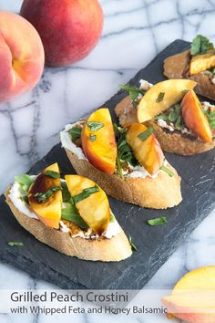 Peach and Whipped Feta Crostini. Heavenly complements to fresh ripe summer peaches: toasted baguette creamy whipped feta-ricotta spread and sweet honey balsamic glaze! Tapas, Appetizer Recipes, Appetizers, Whipped Feta, Watermelon And Feta, Food Processor Recipes, The Best, Sandwiches, Gastronomia