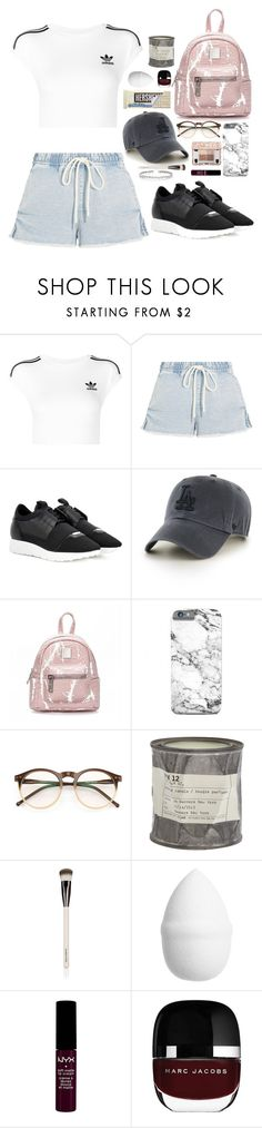 """Untitled #308"" by emmeleialouca on Polyvore featuring adidas Originals, Bassike, Balenciaga, '47 Brand, Wildfox, Le Labo, Chantecaille, H&M, NYX and Suzanne Kalan"