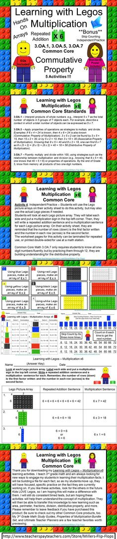 Learning with Legos - Multiplication x6 ***BONUS INCLUDED*** Skip Counting Practice: Common Core - 3.OA.1, 3.OA.5, 3.OA.7. (Legos not included) GREAT for Small Group or RTI. Includes: EQ Poster, Standards Poster, Important Reminders, 12 Lego Multiplication Task Cards for x6, facts, 12 Lego Brick Cards for x6 facts, 4 Activity Direction Pages, Student Recording Sheets, Answer Keys. ADDED Practice on Repeated Addition and Multiplication Sentences!! Now 5 activities :) GREAT for MATH…