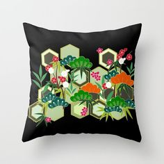 Floral Pillow Cover, Black Cushion Cover, Modern Throw Pillow, Black Pillow, Flower Accent Pillow, Kimono Print Pillow, Modern Japanese