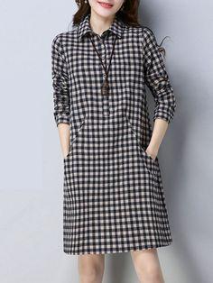 Turn Down Collar Plaid Cotton/Linen Shift Dress - Street Style Outfits Linen Dresses, Modest Dresses, Simple Dresses, Casual Dresses, Shift Dresses, Fall Dresses, Street Style Outfits, Fashion Outfits, Mod Dress