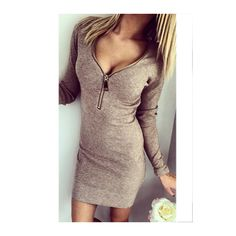 Zipper Closure V Neck Coffee Bodycon Dress ($17) ❤ liked on Polyvore featuring dresses, coffee, brown bodycon dress, long sleeve body con dress, v neck bodycon dress, long sleeve v neck dress and bodycon dress