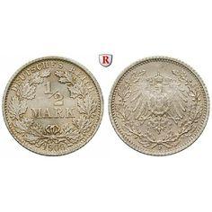 Deutsches Kaiserreich, 1/2 Mark 1906, F, st, J. 16: 1/2 Mark 1906 F. J. 16; stempelfrisch, winz. Kratzer 30,00€ #coins