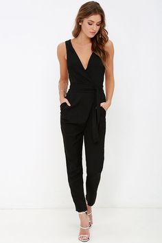 It doesn't take a brainiac to recognize the obvious appeal of the Advanced Degree Black Sleeveless Jumpsuit