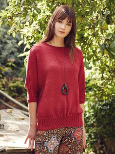 Karma - This relaxed fit ladies sweater features in the Softyak DK brochure by Marie Wallin, the design features three quarter sleeves worked at the same time as the body and an unusual hem trim. It would be suitable for the less experienced knitter. Rowan Yarn, Addi Knitting Needles, Knitting Books, Knitting Sweaters, Digital Pattern, Pattern Design, Pattern Ideas, Lana, Knitwear