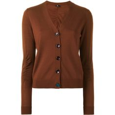 Ps By Paul Smith V-neck buttoned cardigan ($200) ❤ liked on Polyvore featuring tops, cardigans, brown, button cardigan, v-neck tops, v-neck cardigan, brown top and v neck tops