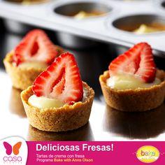 Tartas de crema con fresa