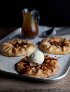 Apple galettes with salted caramel and a food film on Drizzle & Dip No Bake Desserts, Just Desserts, Dessert Recipes, Dessert Food, Apple Recipes, Baking Recipes, Apple Galette, Tray Bakes, Food Inspiration