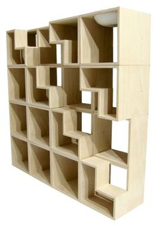 Oh my goodness, this is perfect... a modular bookshelf for books AND cats!