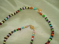 Special Price  Rainbow Pastels and Garnet Necklace by tonebelle, $8.00